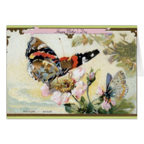 Butterflies and Flowers Vintage Mother's Day Card