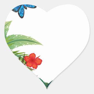 Butterflies and garden heart sticker