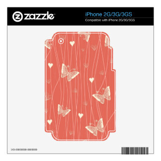 butterflies and hearts iphone 2g/3g/3gs skin iPhone 3G skins