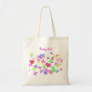 butterflies and hearts tote bag