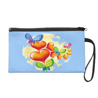 Butterflies and Hearts Wristlet