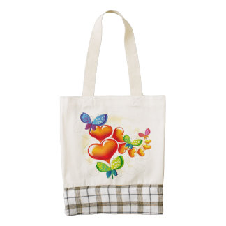Butterflies and Hearts Zazzle HEART Tote Bag