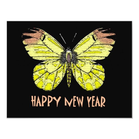 Butterflies  and Moths Happy New Year Card