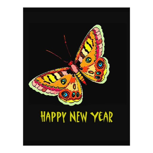"""Butterflies  and Moths Happy New Year 8.5"""" X 11"""" Flyer"""