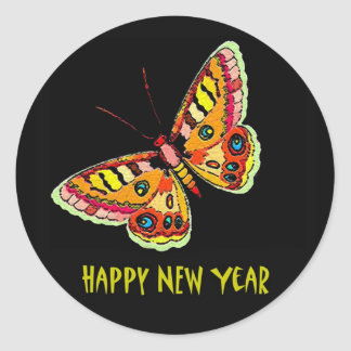 Butterflies  and Moths Happy New Year Sticker