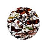 Butterflies and Moths Round Clock
