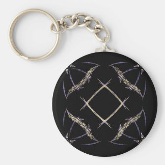Butterflies and Number Sign Fractal Art Keychain