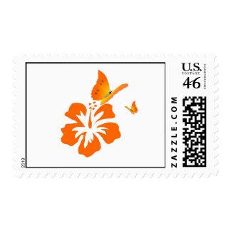 butterflies and orange hibiscus postage stamp