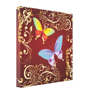 Butterflies and Ornate Pattern Canvas Print