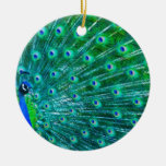 Butterflies and Peacock Double-Sided Ceramic Round Christmas Ornament