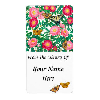 Butterflies and Peonies Bookplate Label
