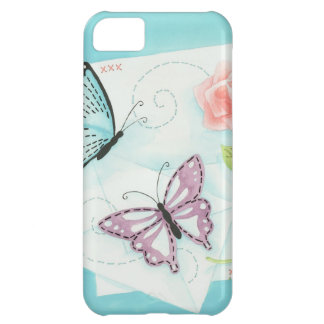 Butterflies and Pink Rose Watercolor Cover For iPhone 5C