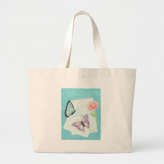 Butterflies and Pink Rose Watercolor Large Tote Bag