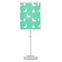 Butterflies and pinstripes - white on aqua desk lamp