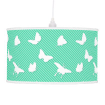 Butterflies and pinstripes - white on aqua hanging lamp