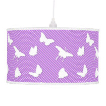 Butterflies and pinstripes - white on lavender ceiling lamp