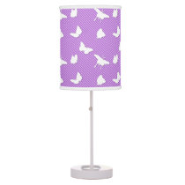 Butterflies and pinstripes - white on lavender table lamp