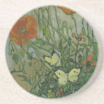 Butterflies and Poppies by Vincent van Gogh Drink Coaster