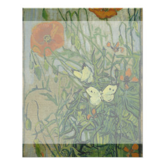 Butterflies and Poppies by Vincent Van Gogh Flyers