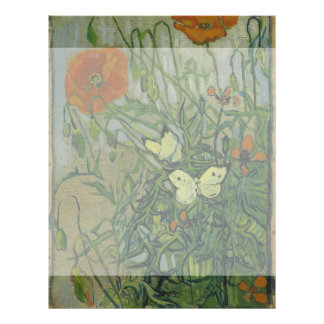 Butterflies and Poppies by Vincent Van Gogh Flyer