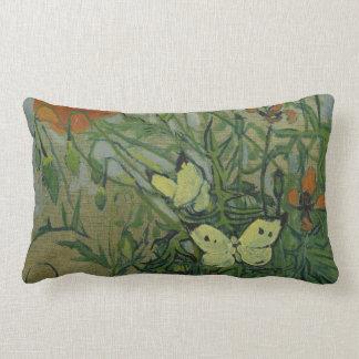 Butterflies and Poppies by Vincent van Gogh Lumbar Pillow