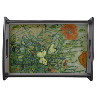 Butterflies and Poppies by Vincent Van Gogh Serving Tray