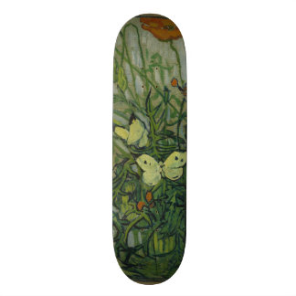 Butterflies and Poppies by Vincent Van Gogh Skateboard