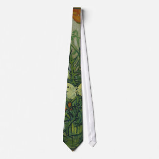 Butterflies and Poppies by Vincent Van Gogh Tie