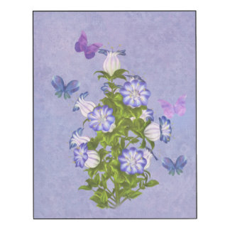 Butterflies and Purple and White Bell Flowers Wood Wall Art