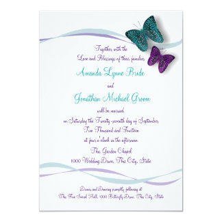 Butterflies and Ribbons Wedding Card