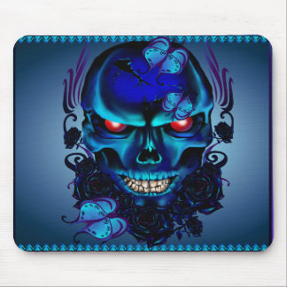 Butterflies and Roses Black Skull Mousepad