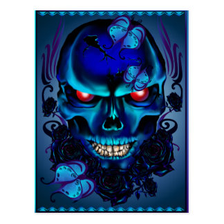 Butterflies and Roses Black Skull Postcard