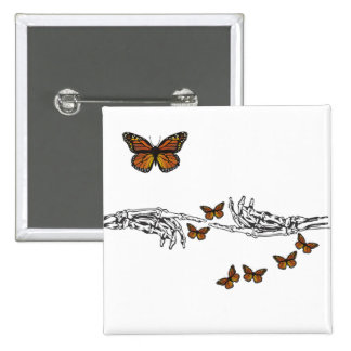 Butterflies and Skeletons Button