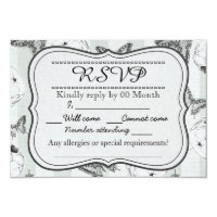 Butterflies and skulls RSVP card