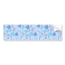 Butterflies and Sparkles Blue Pattern Bumper Sticker