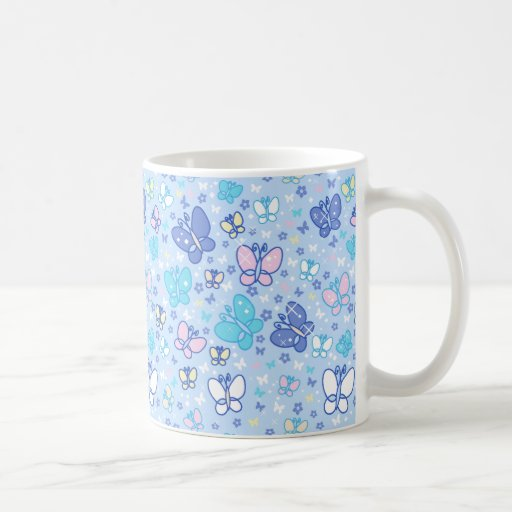 Butterflies and Sparkles Blue Pattern Coffee Mug