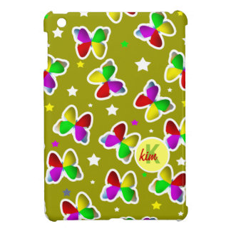 Butterflies and Stars Olive Green iPad Mini Case