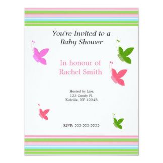 Butterflies and Stripes Baby Shower Invitation
