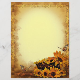 Butterflies and Sunflowers Stationary