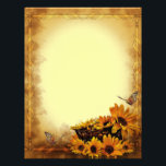 "Butterflies and Sunflowers Stationary Letterhead<br><div class=""desc""></div>"