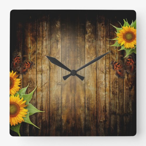 Butterflies and Sunflowers Wall Clock