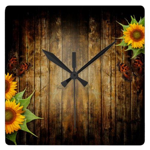 Butterflies and Sunflowers Wall Clock