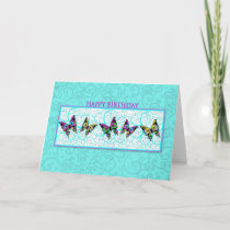 BUTTERFLIES AND SWIRLS BIRTHDAY GREETING CARD