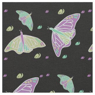 Butterflies and Swirls Black Fabric
