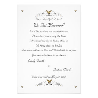 Butterflies and Swirls elopement 2 Invitations