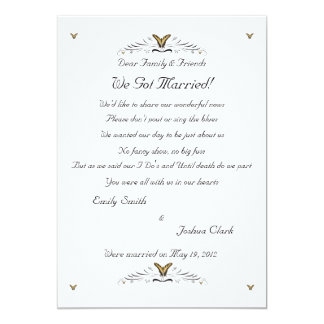 Butterflies and Swirls elopement 2 5x7 Paper Invitation Card