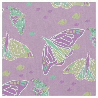Butterflies and Swirls Mauve Fabric