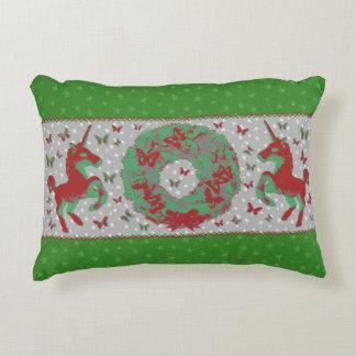 """Butterflies and Unicorns"" Christmas Pillow (Grn)"