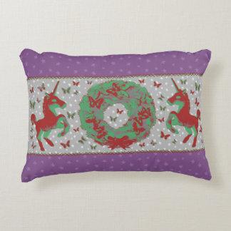 """Butterflies and Unicorns"" Christmas Pillow (Mauv)"