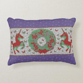 """Butterflies and Unicorns"" Christmas Pillow (Purp)"